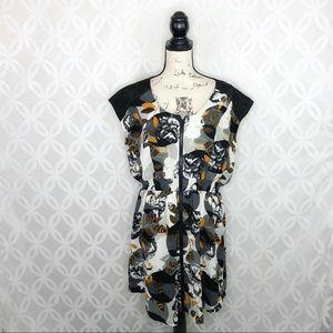5 for $25  Bar III Floral Zip Front Dress Egret